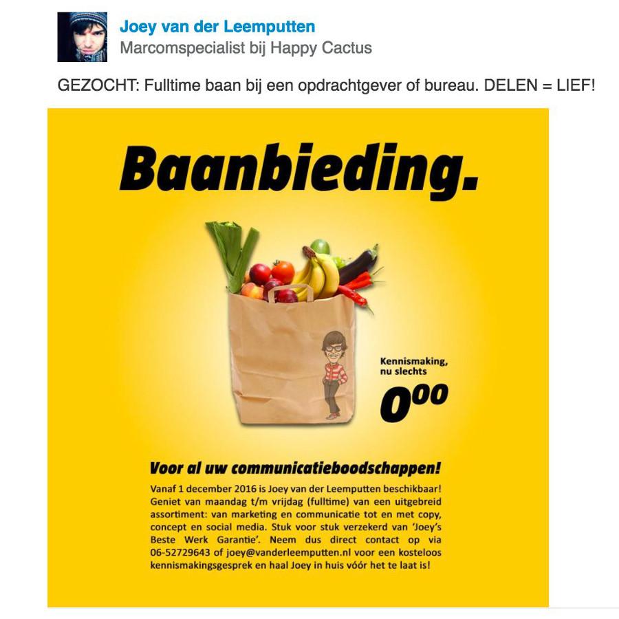 originele sollicitatie Een mooi sollicitatieverhaal: 'Er was eens Joey en Jumbo