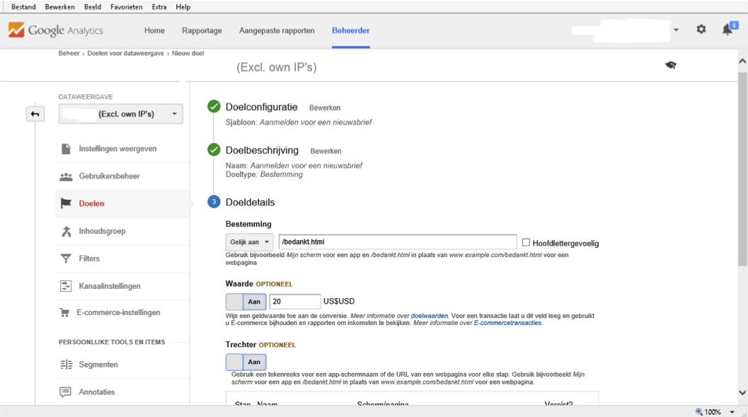 Doelen instellen in Google Analytics
